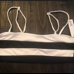 Bar III Black/White Color Block Bandeau Bikini Top
